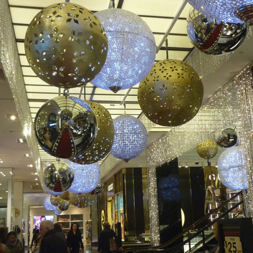 Crystal Orbs, Metal Orbs, Overhead Holiday Decor, Bloomingdales Holiday