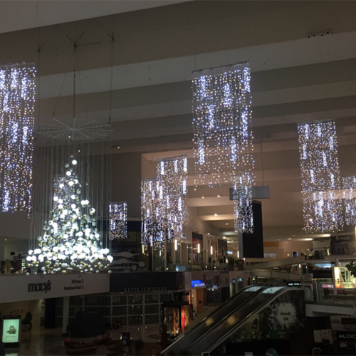 Custom Christmas Tree, Overhead Holiday Decor, Iconic Holiday, Holiday Image, Matthew Schwam, Westfield, LED Light Curtains