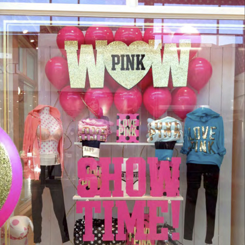 Retail Holiday Roll Outs, Victoria's Secret Holiday, Pink Holiday, Branded Design Solutions, Retail Holiday, Balloons