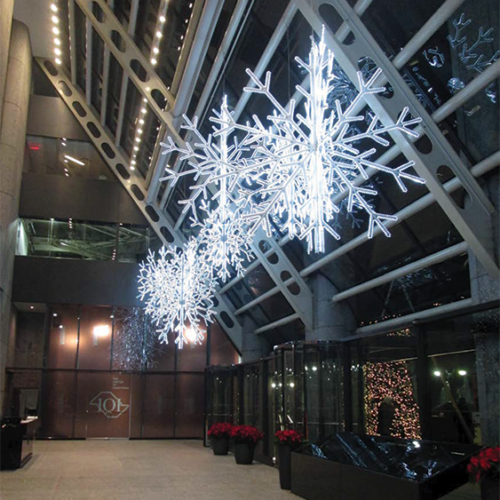 Giant Snowflakes, Overhead Holiday Decor, Iconic Holiday, Matthew Schwam Design Solutions